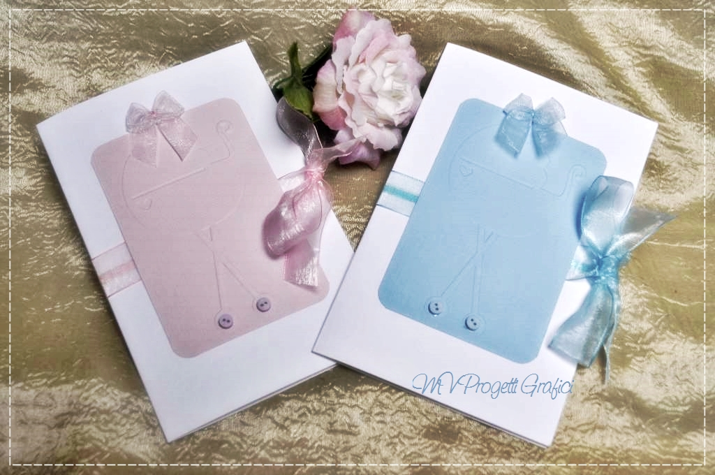 BABY CARRIAGE CARD PINK BLUE